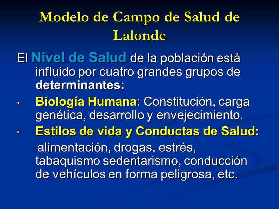 Modelo de Campo de Salud de Lalonde El Nivel de Salud de la población está influido por cuatro grandes grupos de determinantes: Biología Humana: Const