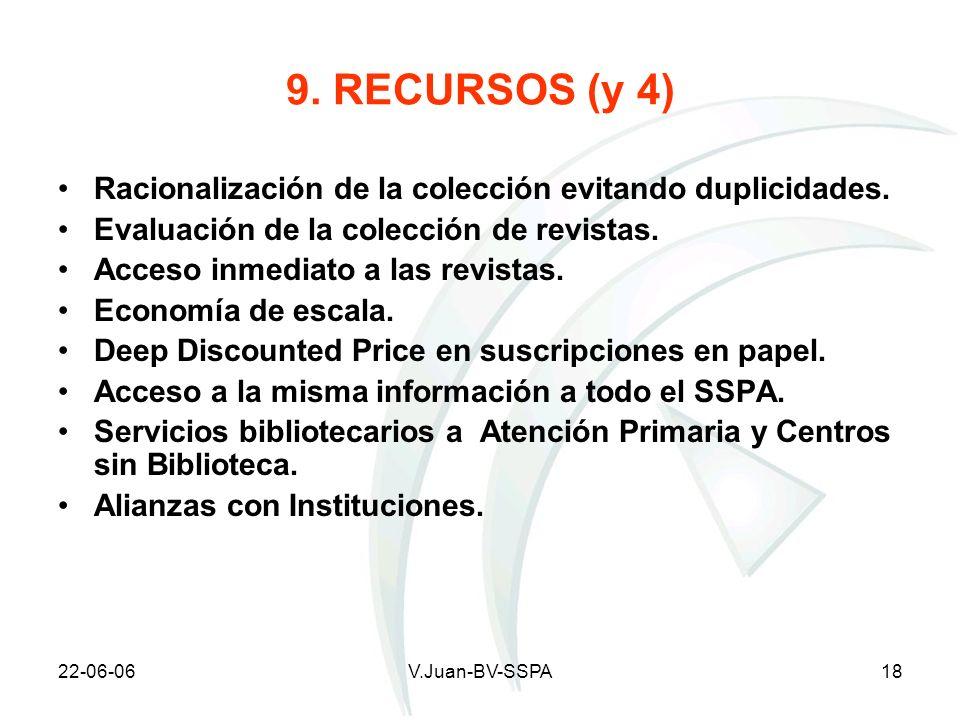 22-06-06V.Juan-BV-SSPA18 9. RECURSOS (y 4) Racionalización de la colección evitando duplicidades. Evaluación de la colección de revistas. Acceso inmed