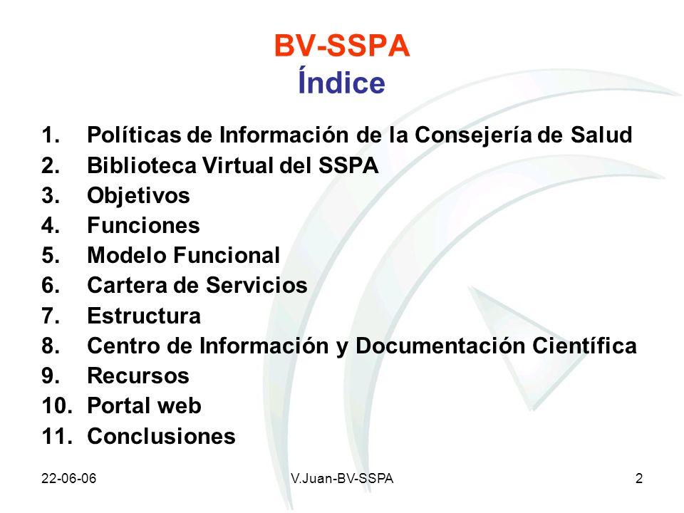 22-06-06V.Juan-BV-SSPA2 BV-SSPA Índice 1.Políticas de Información de la Consejería de Salud 2.Biblioteca Virtual del SSPA 3. Objetivos 4. Funciones 5.