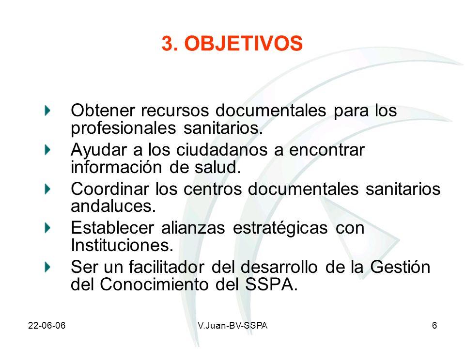 22-06-06V.Juan-BV-SSPA6 3. OBJETIVOS Obtener recursos documentales para los profesionales sanitarios. Ayudar a los ciudadanos a encontrar información