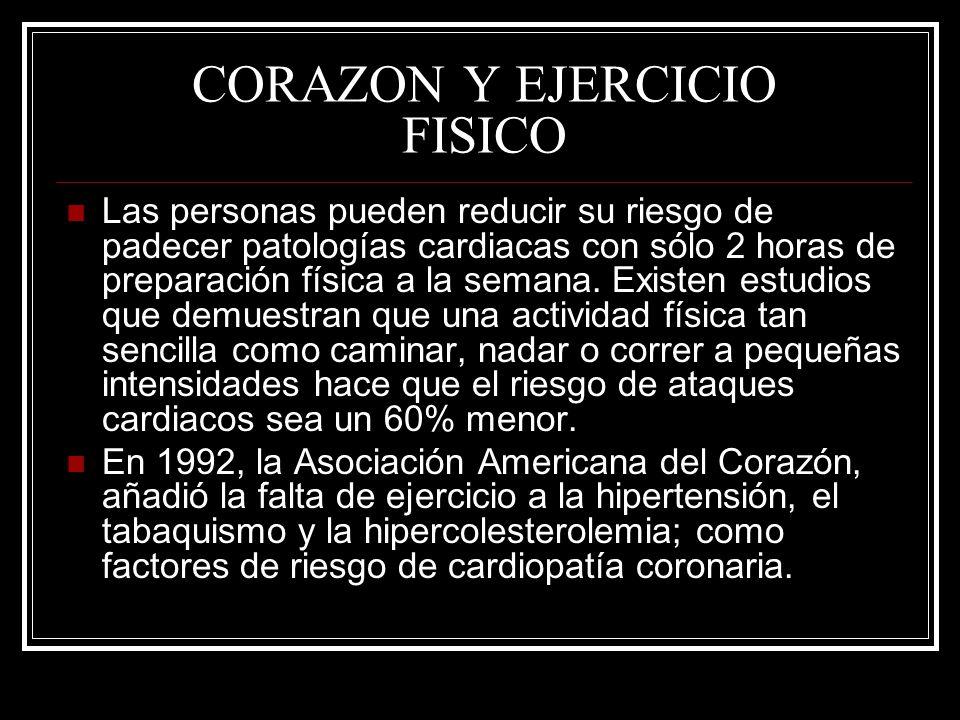 CORAZON Y EJERCICIO FISICO Las personas pueden reducir su riesgo de padecer patologías cardiacas con sólo 2 horas de preparación física a la semana. E