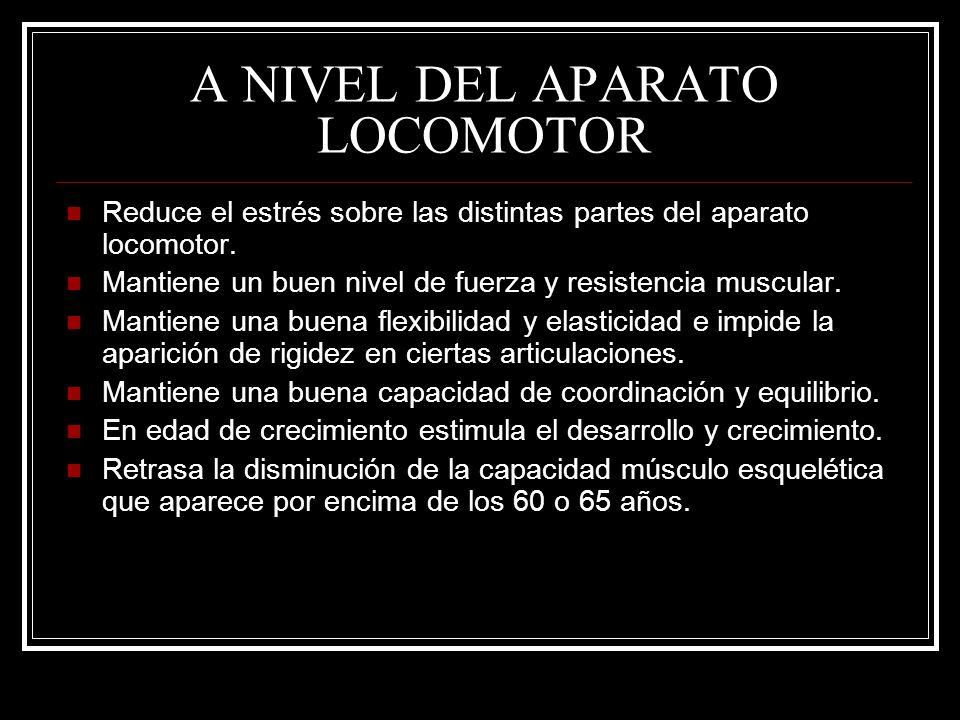 A NIVEL DEL APARATO LOCOMOTOR Reduce el estrés sobre las distintas partes del aparato locomotor. Mantiene un buen nivel de fuerza y resistencia muscul