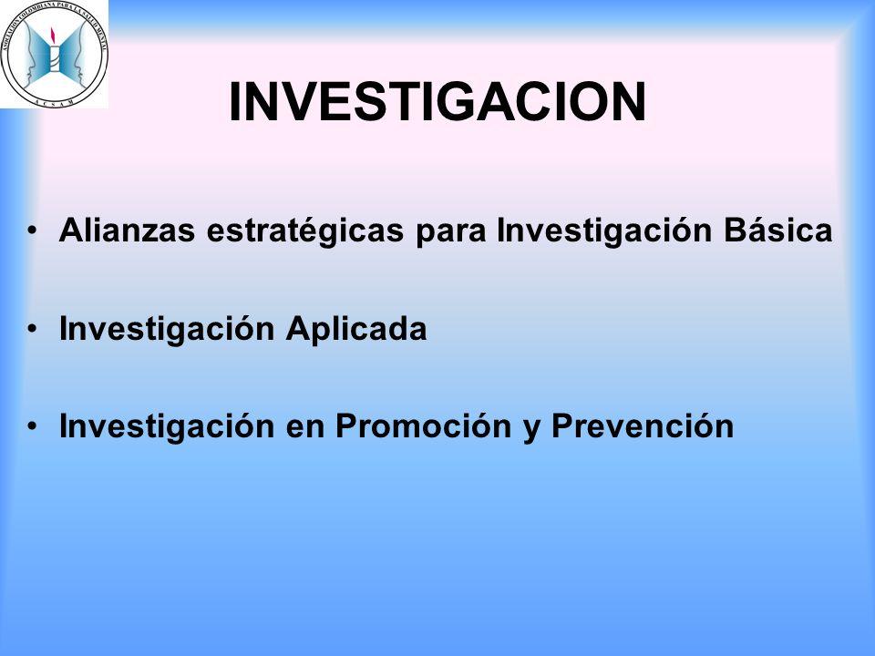 INVESTIGACION Alianzas estratégicas para Investigación Básica Investigación Aplicada Investigación en Promoción y Prevención