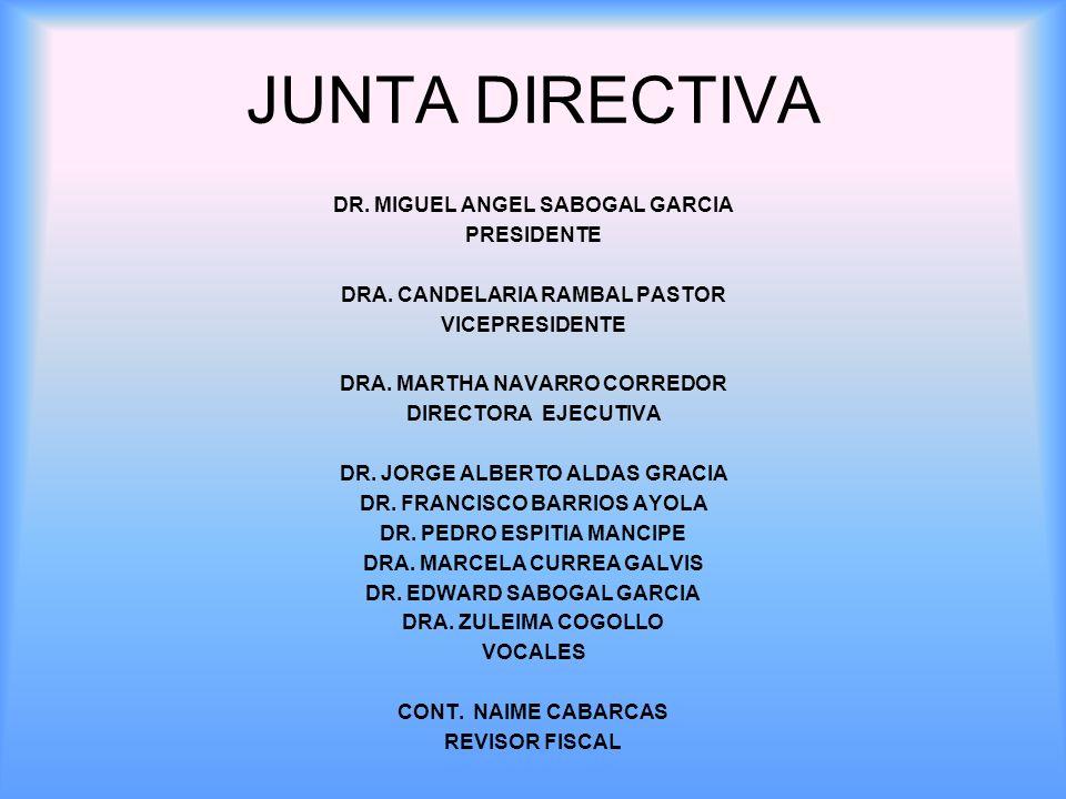 JUNTA DIRECTIVA DR. MIGUEL ANGEL SABOGAL GARCIA PRESIDENTE DRA. CANDELARIA RAMBAL PASTOR VICEPRESIDENTE DRA. MARTHA NAVARRO CORREDOR DIRECTORA EJECUTI