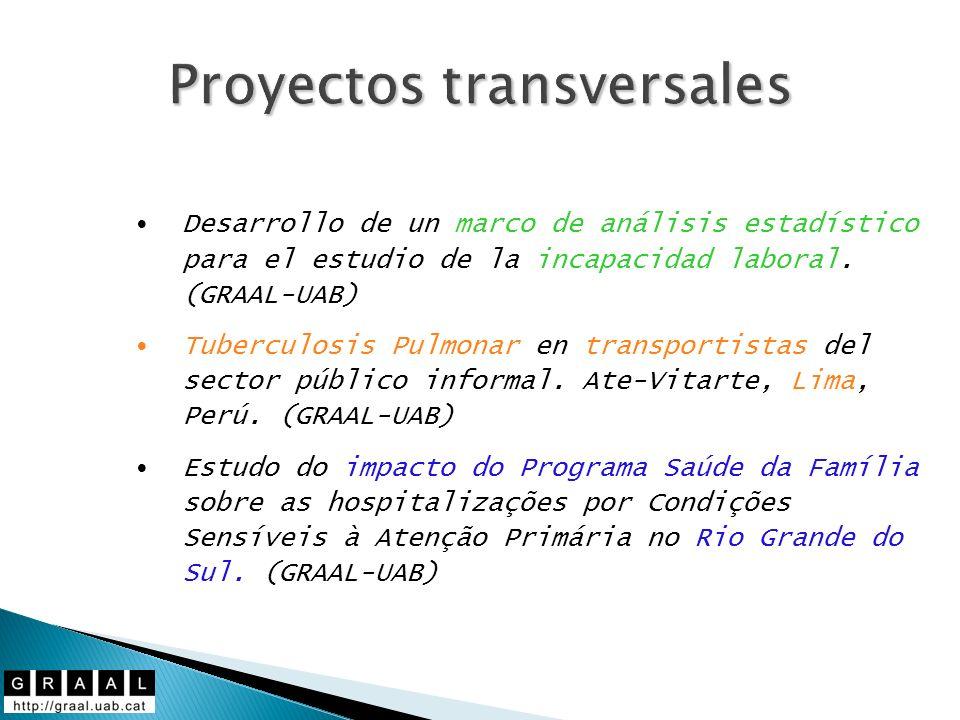Proyectos transversales Desarrollo de un marco de análisis estadístico para el estudio de la incapacidad laboral. (GRAAL-UAB) Tuberculosis Pulmonar en