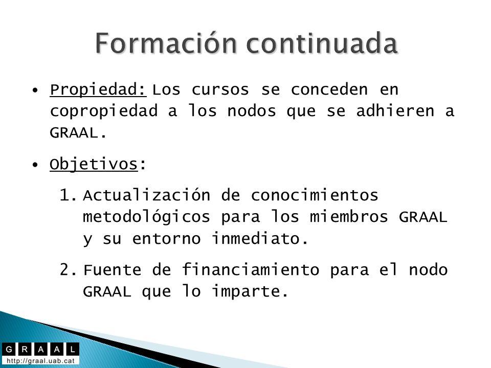 Formación continuada Propiedad: Los cursos se conceden en copropiedad a los nodos que se adhieren a GRAAL. Objetivos: 1.Actualización de conocimientos