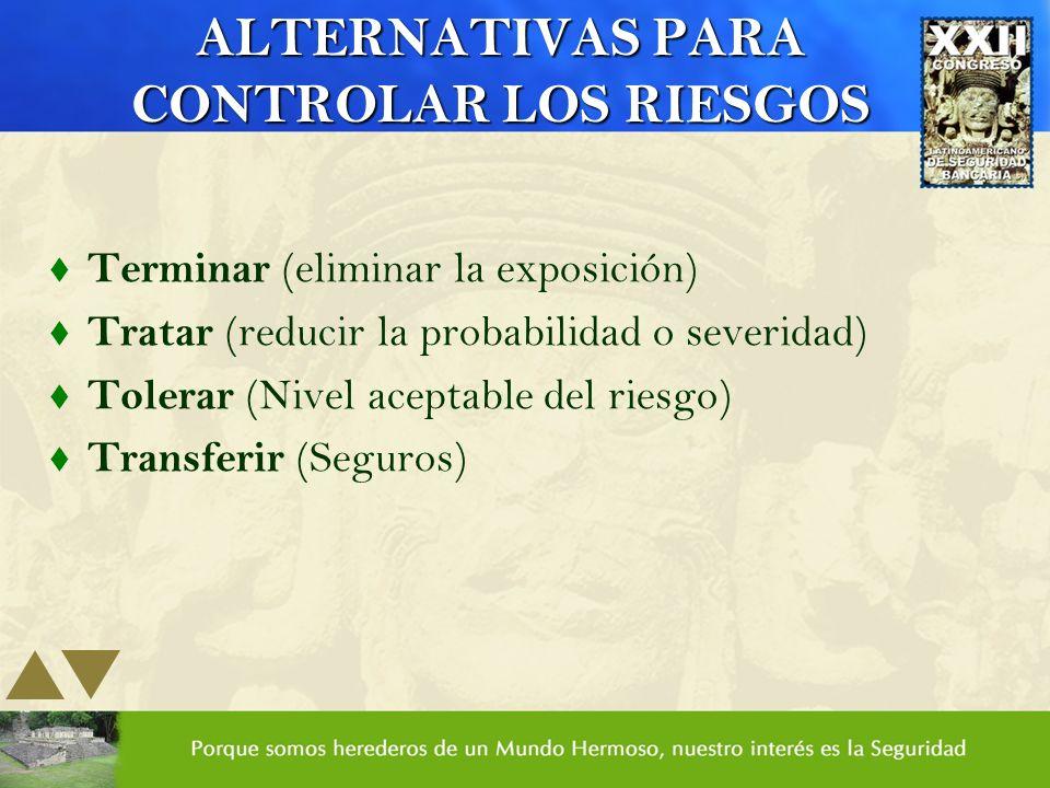 ALTERNATIVAS PARA CONTROLAR LOS RIESGOS t Terminar (eliminar la exposición) t Tratar (reducir la probabilidad o severidad) t Tolerar (Nivel aceptable