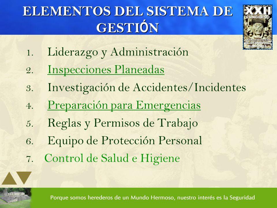 ELEMENTOS DEL SISTEMA DE GESTI Ó N 1. Liderazgo y Administración 2. Inspecciones Planeadas 3. Investigación de Accidentes/Incidentes 4. Preparación pa