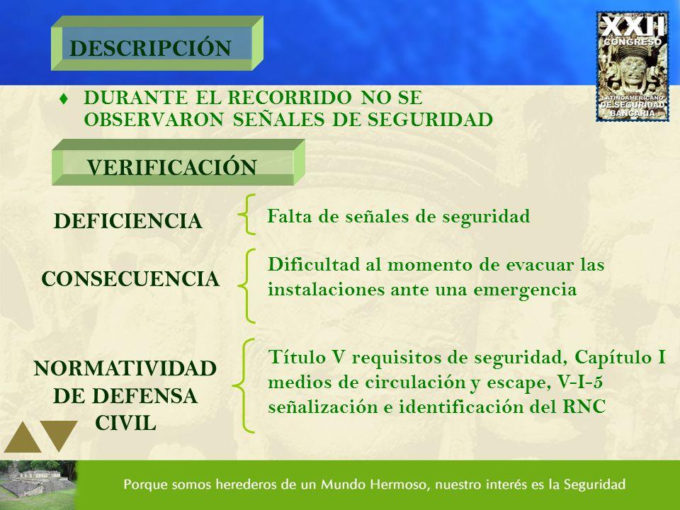 DESCRIPCIÓN t DURANTE EL RECORRIDO NO SE OBSERVARON SEÑALES DE SEGURIDAD VERIFICACIÓN DEFICIENCIA Falta de señales de seguridad CONSECUENCIA Dificulta