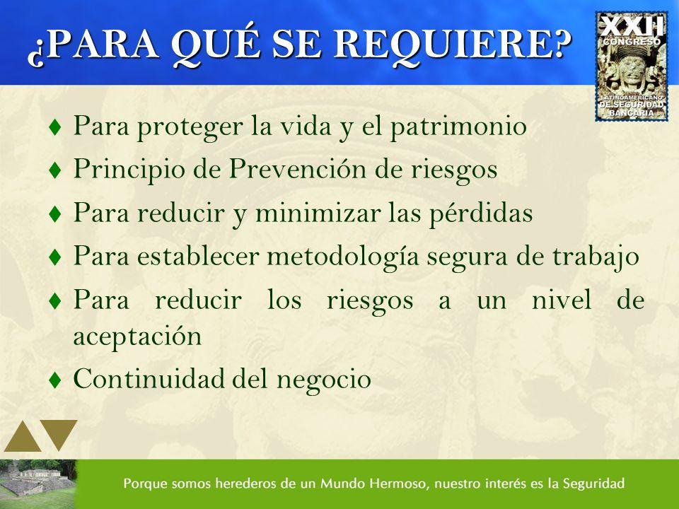 ¿PARA QUÉ SE REQUIERE? t Para proteger la vida y el patrimonio t Principio de Prevención de riesgos t Para reducir y minimizar las pérdidas t Para est