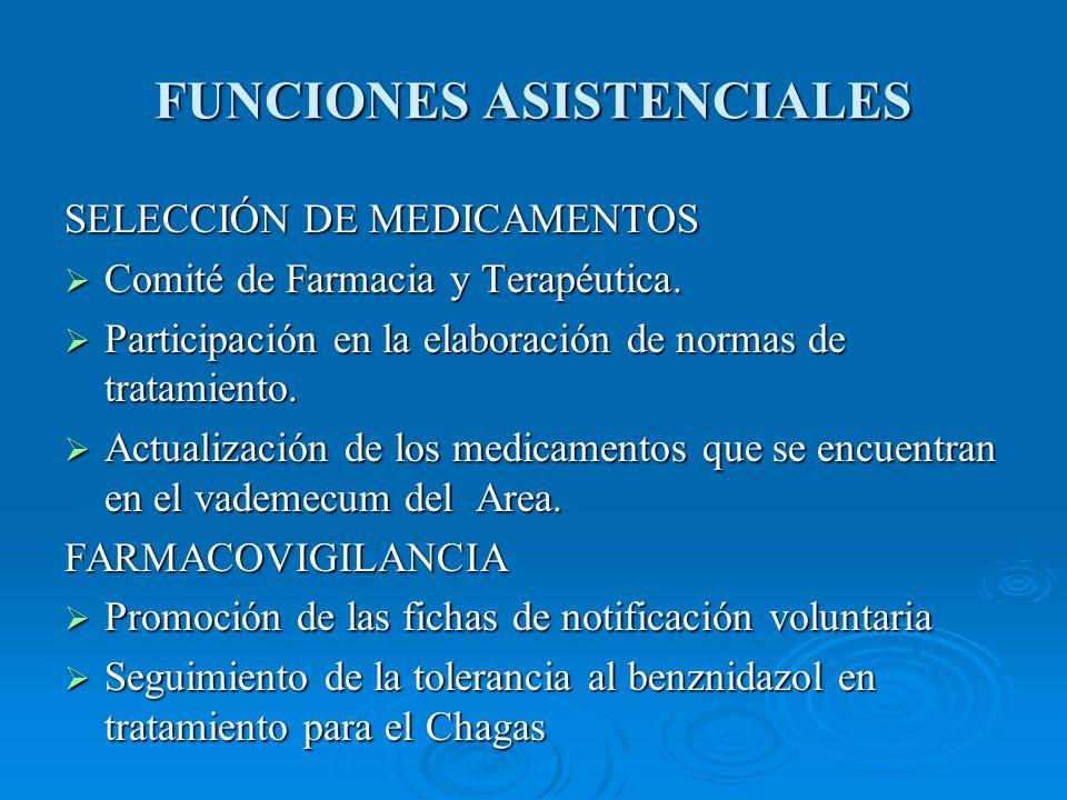 FUNCIONES ASISTENCIALES SELECCIÓN DE MEDICAMENTOS Comité de Farmacia y Terapéutica.