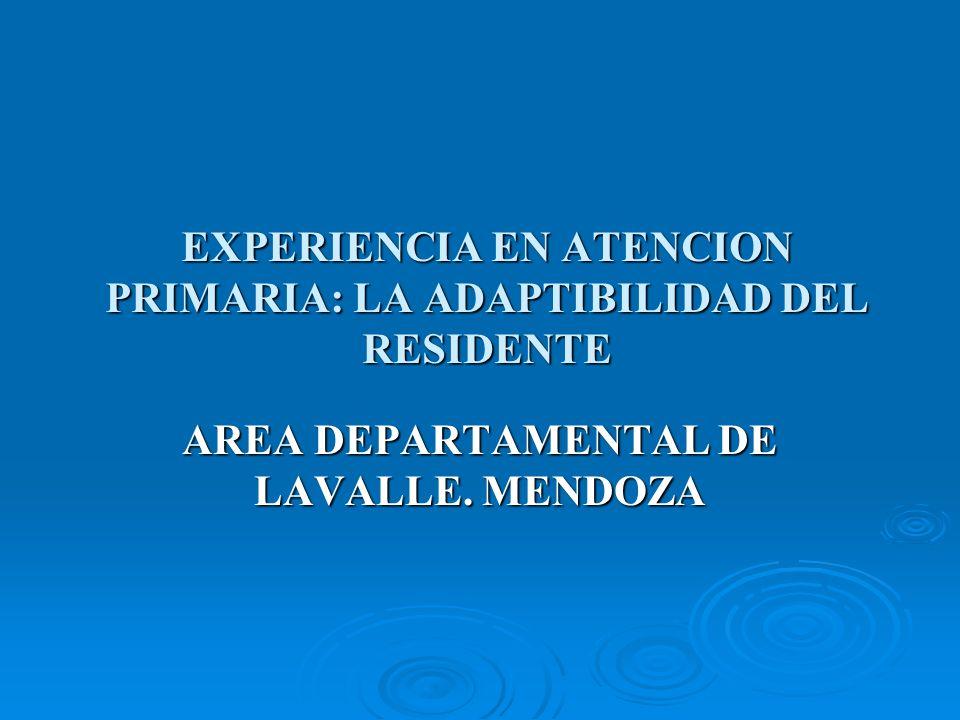 EXPERIENCIA EN ATENCION PRIMARIA: LA ADAPTIBILIDAD DEL RESIDENTE AREA DEPARTAMENTAL DE LAVALLE.