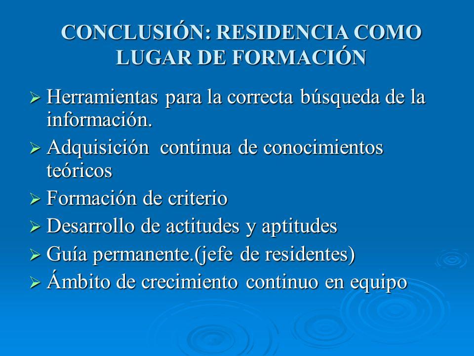 CONCLUSIÓN: RESIDENCIA COMO LUGAR DE FORMACIÓN Herramientas para la correcta búsqueda de la información.