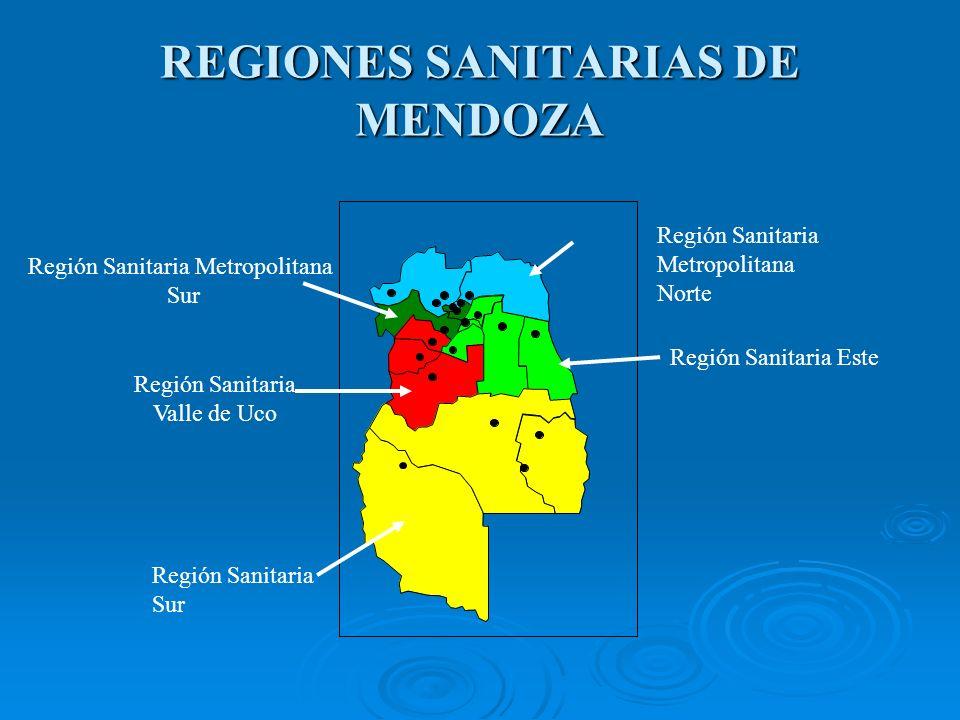 REGIONES SANITARIAS DE MENDOZA Región Sanitaria Valle de Uco Región Sanitaria Este Región Sanitaria Sur Región Sanitaria Metropolitana Norte Región Sanitaria Metropolitana Sur