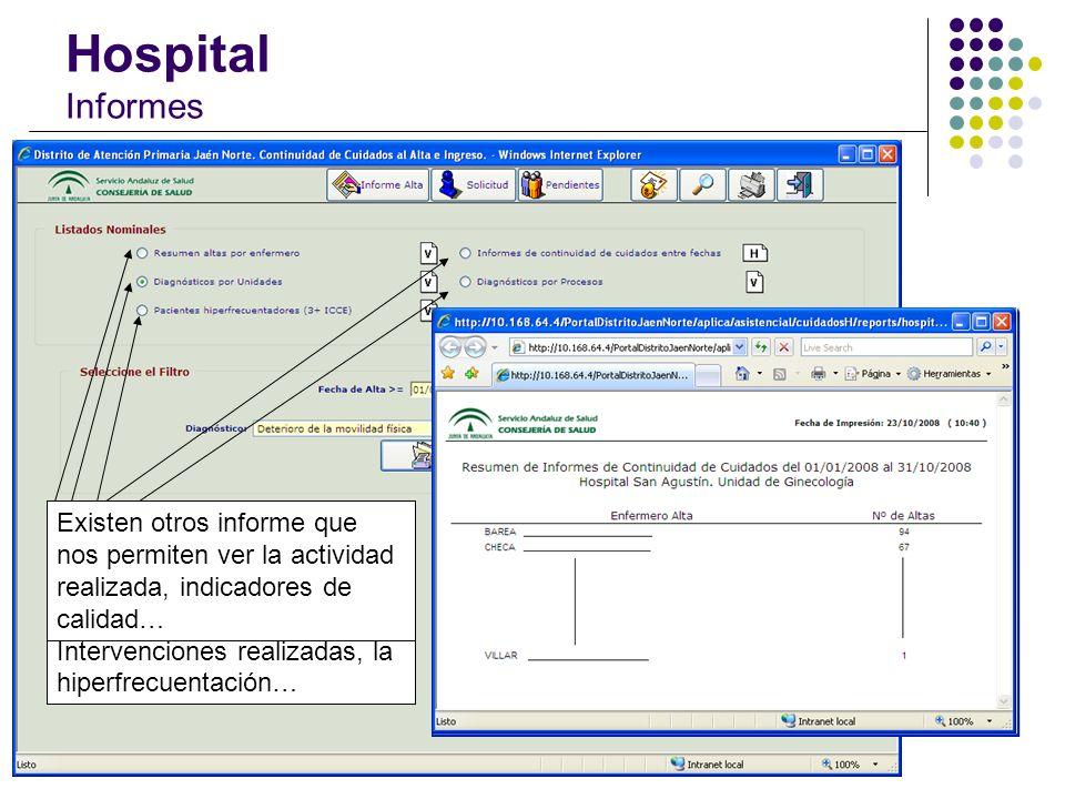 Hospital Informes En función del perfil del usuario, los informes se podrán obtener de su Unidad o bien de todo el Hospital. Algunos ejemplos son: Est