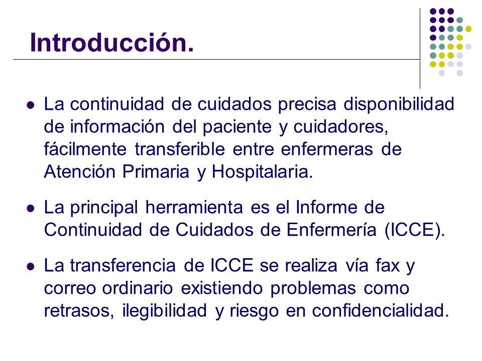 Introducción. La continuidad de cuidados precisa disponibilidad de información del paciente y cuidadores, fácilmente transferible entre enfermeras de