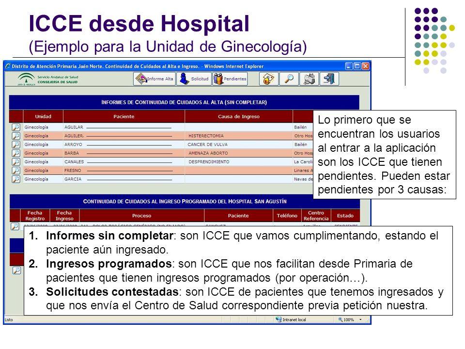 ICCE desde Hospital (Ejemplo para la Unidad de Ginecología) Lo primero que se encuentran los usuarios al entrar a la aplicación son los ICCE que tiene