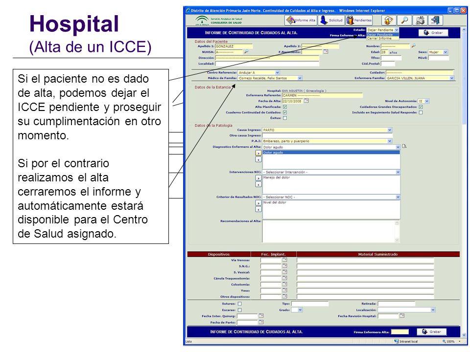 Hospital (Alta de un ICCE) Los datos del paciente se extraen de una base de datos con todos los usuarios del Distrito (BDU). Al seleccionar una Causa