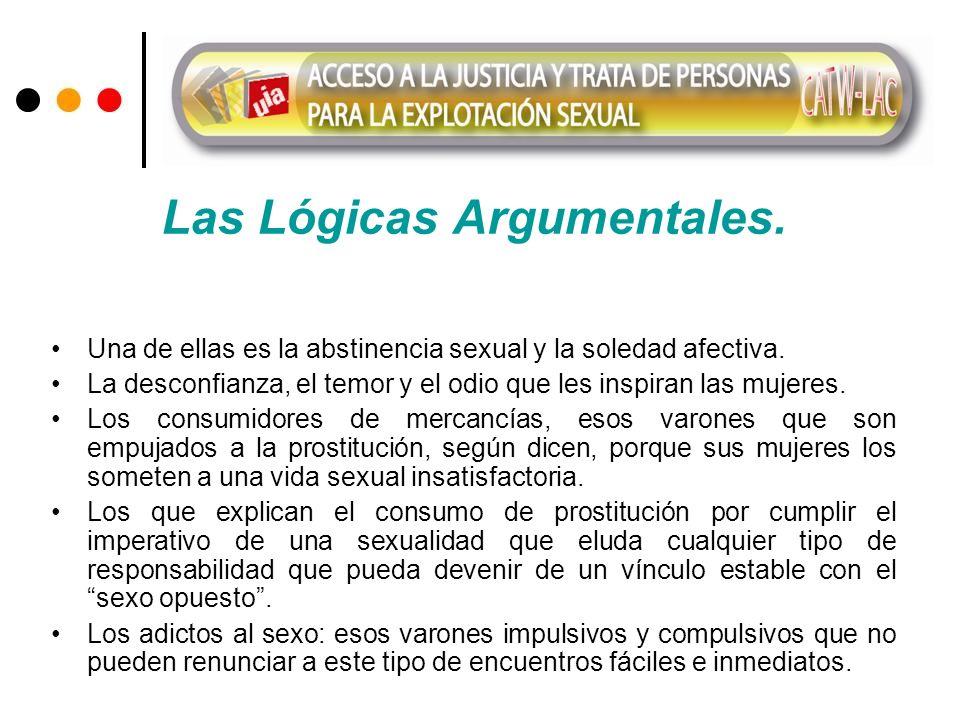 Las Lógicas Argumentales. Una de ellas es la abstinencia sexual y la soledad afectiva. La desconfianza, el temor y el odio que les inspiran las mujere