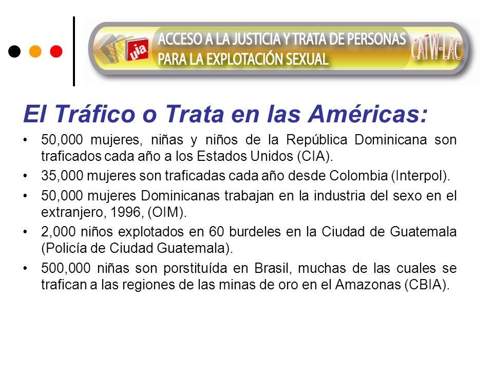 El Tráfico o Trata en las Américas: 50,000 mujeres, niñas y niños de la República Dominicana son traficados cada año a los Estados Unidos (CIA). 35,00