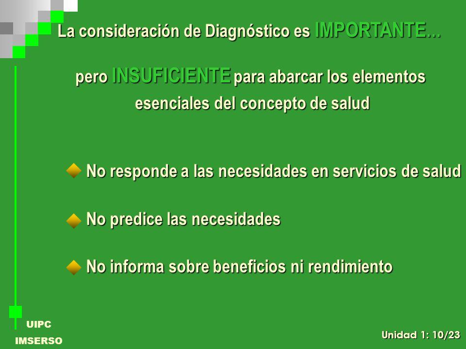 UIPC IMSERSO La consideración de Diagnóstico es IMPORTANTE … pero INSUFICIENTE para abarcar los elementos esenciales del concepto de salud No responde