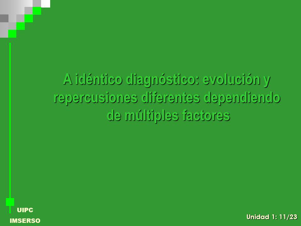 UIPC IMSERSO A idéntico diagnóstico: evolución y repercusiones diferentes dependiendo de múltiples factores Unidad 1: 11/23
