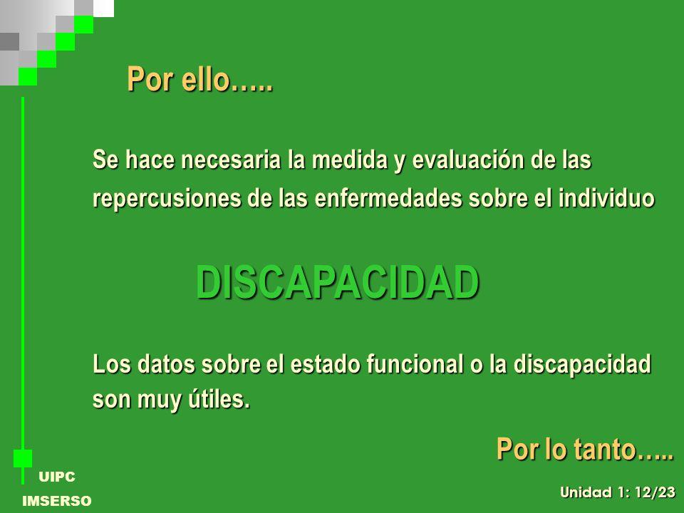 UIPC IMSERSO Por ello….. Se hace necesaria la medida y evaluación de las repercusiones de las enfermedades sobre el individuo DISCAPACIDAD Los datos s