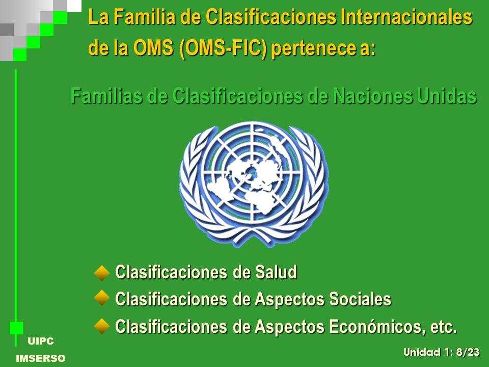 UIPC IMSERSO La Familia de Clasificaciones Internacionales de la OMS (OMS-FIC) pertenece a: Clasificaciones de Salud Clasificaciones de Aspectos Socia