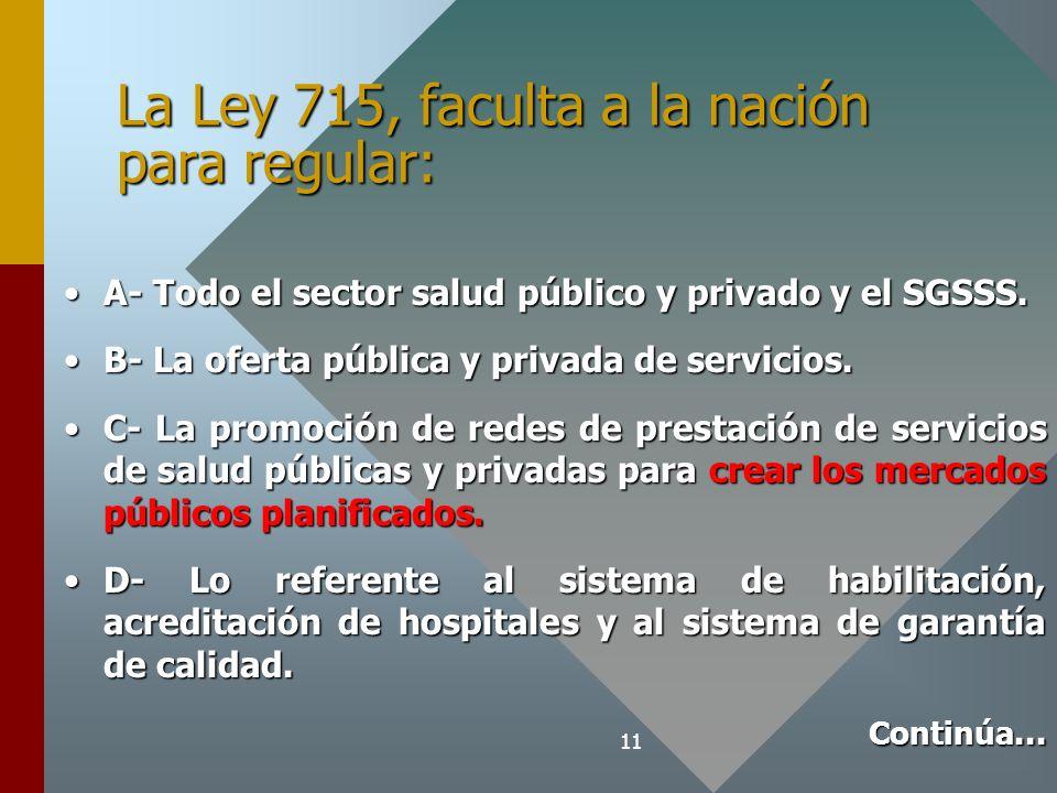 11 La Ley 715, faculta a la nación para regular: A- Todo el sector salud público y privado y el SGSSS.A- Todo el sector salud público y privado y el SGSSS.