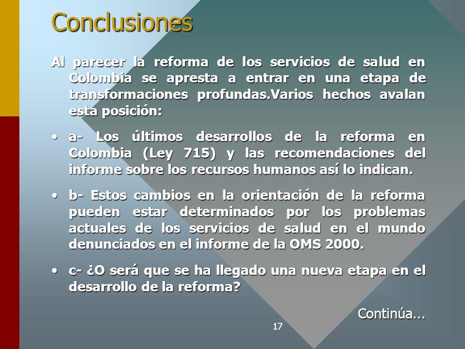 17Conclusiones Al parecer la reforma de los servicios de salud en Colombia se apresta a entrar en una etapa de transformaciones profundas.Varios hechos avalan esta posición: a- Los últimos desarrollos de la reforma en Colombia (Ley 715) y las recomendaciones del informe sobre los recursos humanos así lo indican.a- Los últimos desarrollos de la reforma en Colombia (Ley 715) y las recomendaciones del informe sobre los recursos humanos así lo indican.