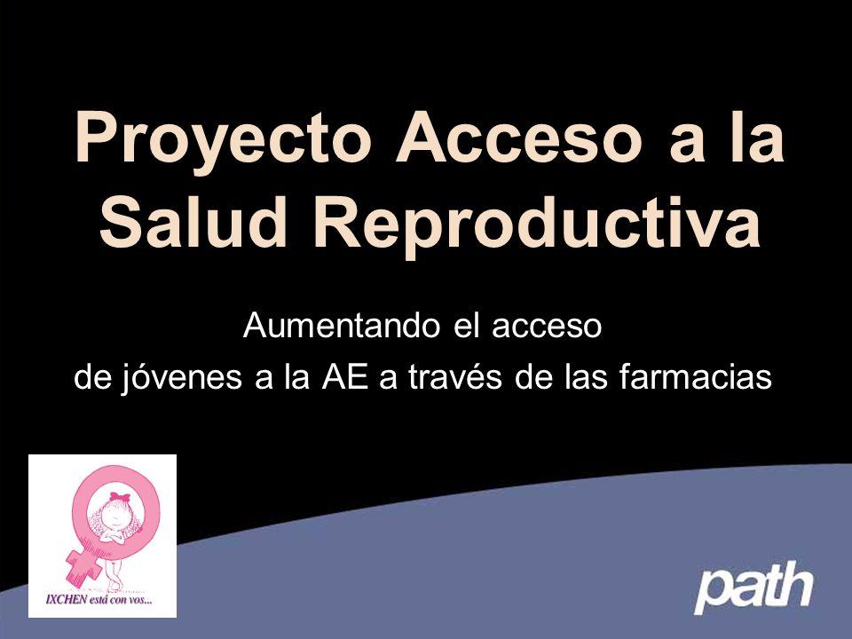 Proyecto Acceso a la Salud Reproductiva Aumentando el acceso de jóvenes a la AE a través de las farmacias