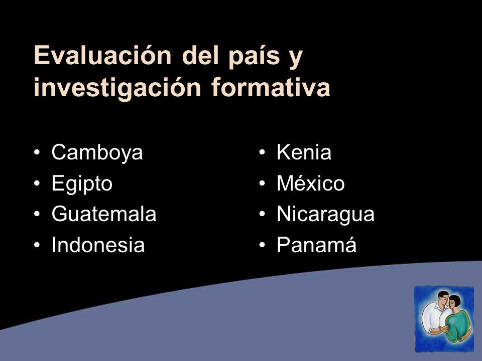 Evaluación del país y investigación formativa Camboya Egipto Guatemala Indonesia Kenia México Nicaragua Panamá