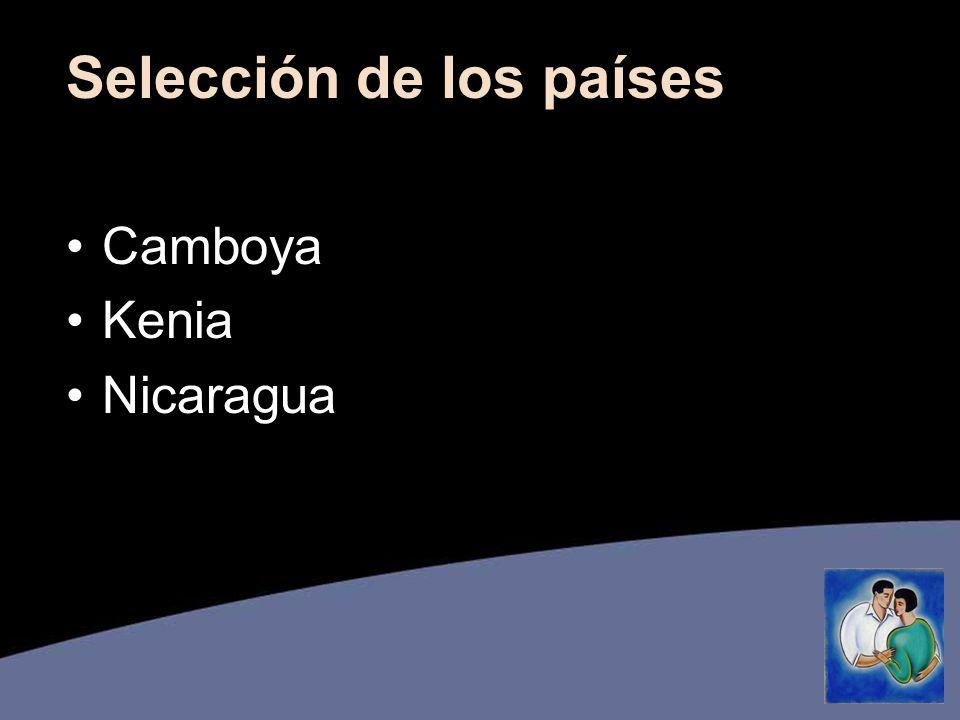 Selección de los países Camboya Kenia Nicaragua
