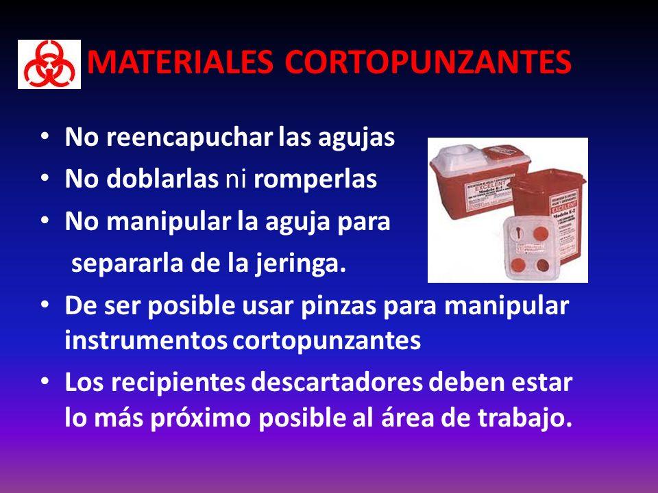 MATERIALES CORTOPUNZANTES No reencapuchar las agujas No doblarlas ni romperlas No manipular la aguja para separarla de la jeringa.