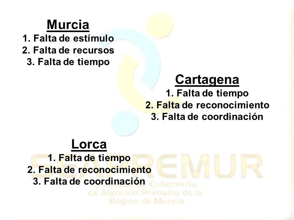 Murcia 1.Falta de estímulo 2.Falta de recursos 3.Falta de tiempo Cartagena 1.Falta de tiempo 2.Falta de reconocimiento 3.Falta de coordinación Lorca 1