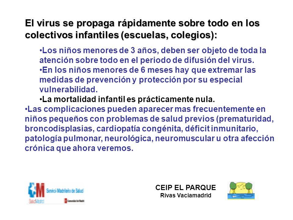 El virus se propaga rápidamente sobre todo en los colectivos infantiles (escuelas, colegios): Los niños menores de 3 años, deben ser objeto de toda la
