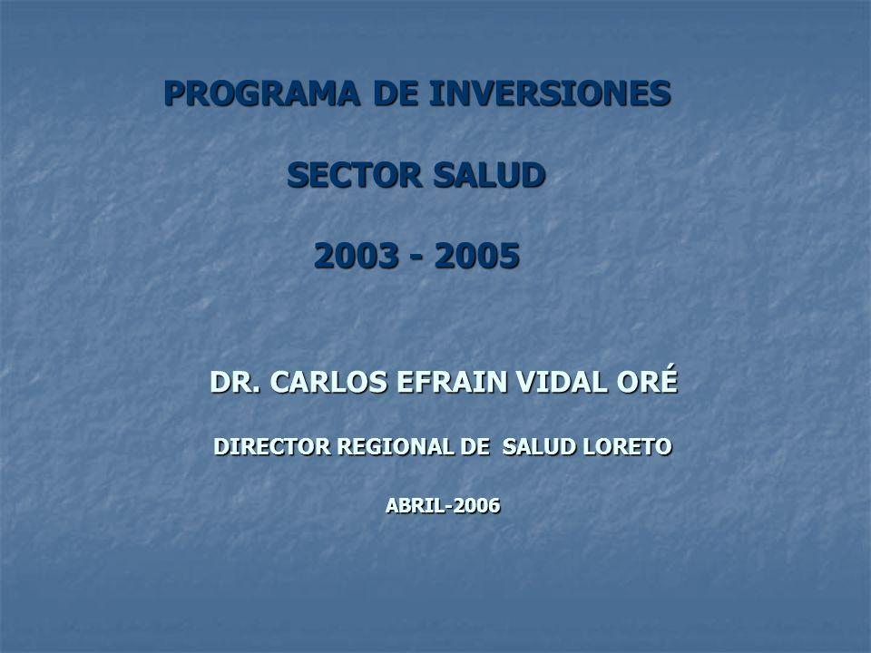 RESUMEN DEL BANCO DE PROYECTOS SECTOR SALUD: 2003-2005 Según Tipo de Proyectos A nivel regional TIPO DE PROYECTOSFORMULADOSVIABLES EN PROCESO DE VIABILIDAD EJECUTADO S (*) Equipamiento234191 Construcción349252 Construcción y Equipamiento20713 (**)3 TOTAL7720576 (*) De los proyectos viables (**) Un proyecto rechazado