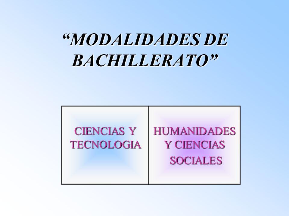 MODALIDADES DE BACHILLERATO CIENCIAS Y TECNOLOGIA HUMANIDADES Y CIENCIAS SOCIALES SOCIALES
