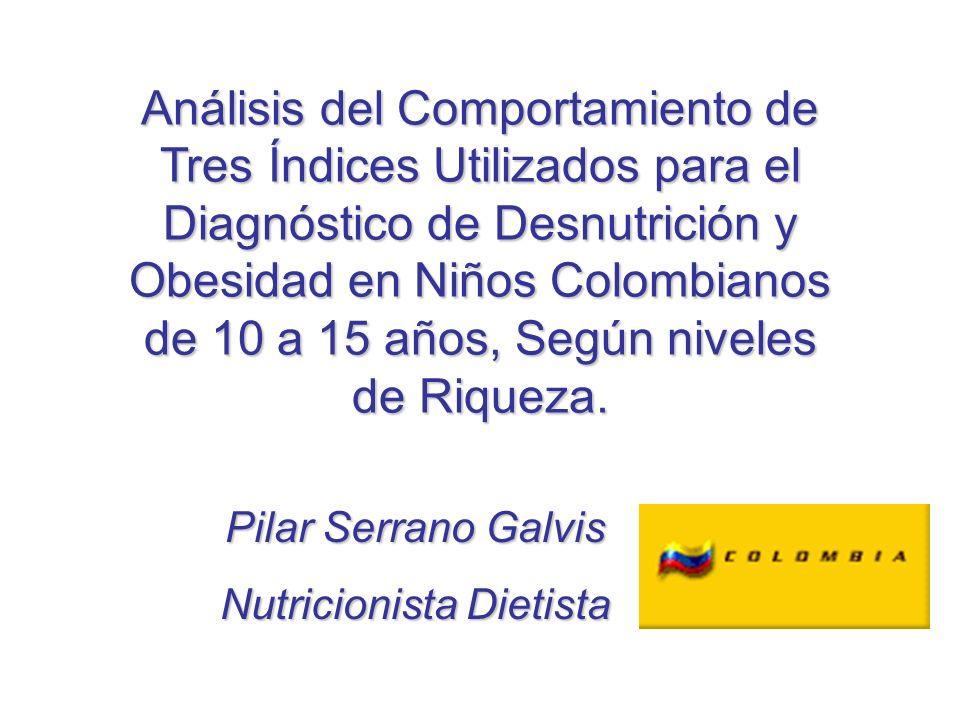 Análisis del Comportamiento de Tres Índices Utilizados para el Diagnóstico de Desnutrición y Obesidad en Niños Colombianos de 10 a 15 años, Según nive