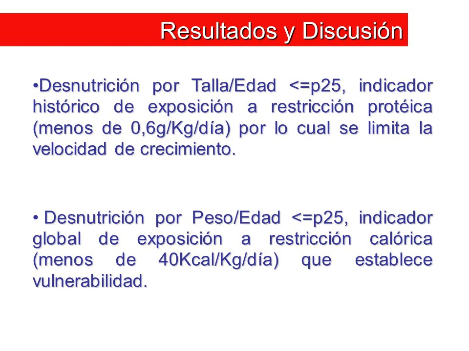 Resultados y Discusión Desnutrición por Talla/Edad <=p25, indicador histórico de exposición a restricción protéica (menos de 0,6g/Kg/día) por lo cual