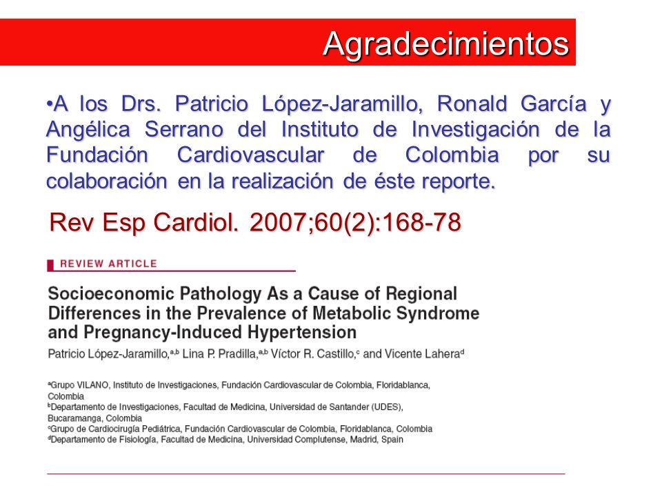 Agradecimientos A los Drs. Patricio López-Jaramillo, Ronald García y Angélica Serrano del Instituto de Investigación de la Fundación Cardiovascular de