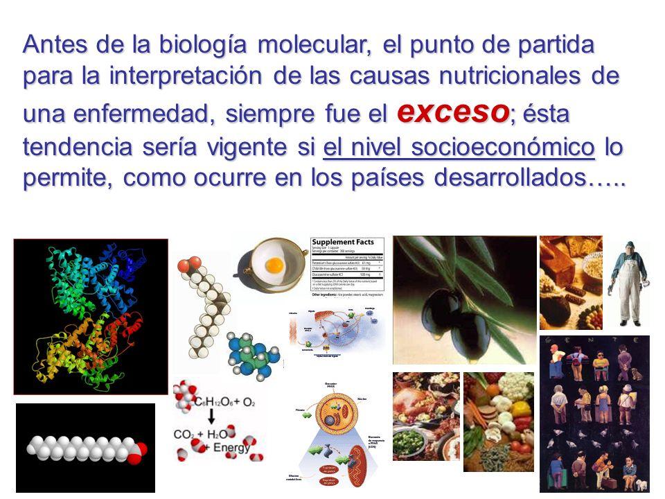 Antes de la biología molecular, el punto de partida para la interpretación de las causas nutricionales de una enfermedad, siempre fue el exceso ; ésta