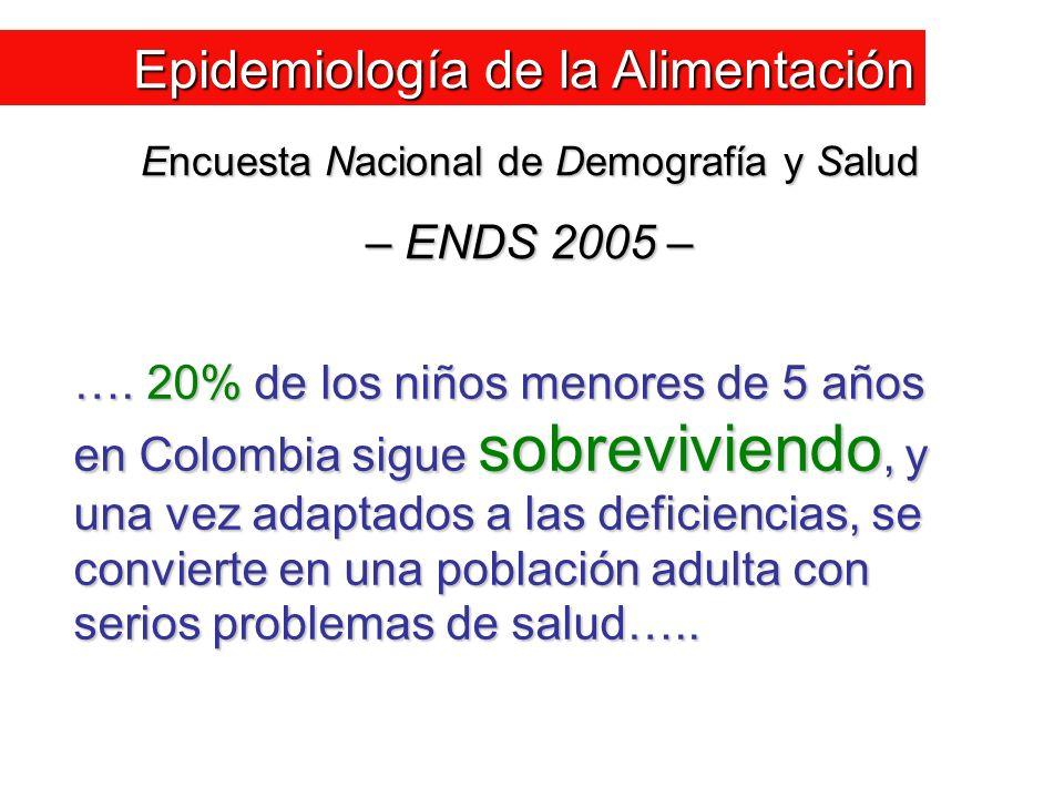 …. 20% de los niños menores de 5 años en Colombia sigue sobreviviendo, y una vez adaptados a las deficiencias, se convierte en una población adulta co
