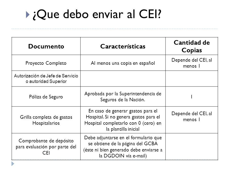 DocumentoCaracterísticas Cantidad de Copias Proyecto CompletoAl menos una copia en español Depende del CEI, al menos 1 Autorización de Jefe de Servicio o autoridad Superior Póliza de Seguro Aprobada por la Superintendencia de Seguros de la Nación.
