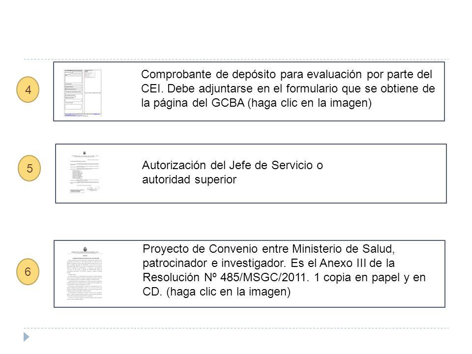 5 Autorización del Jefe de Servicio o autoridad superior Comprobante de depósito para evaluación por parte del CEI.
