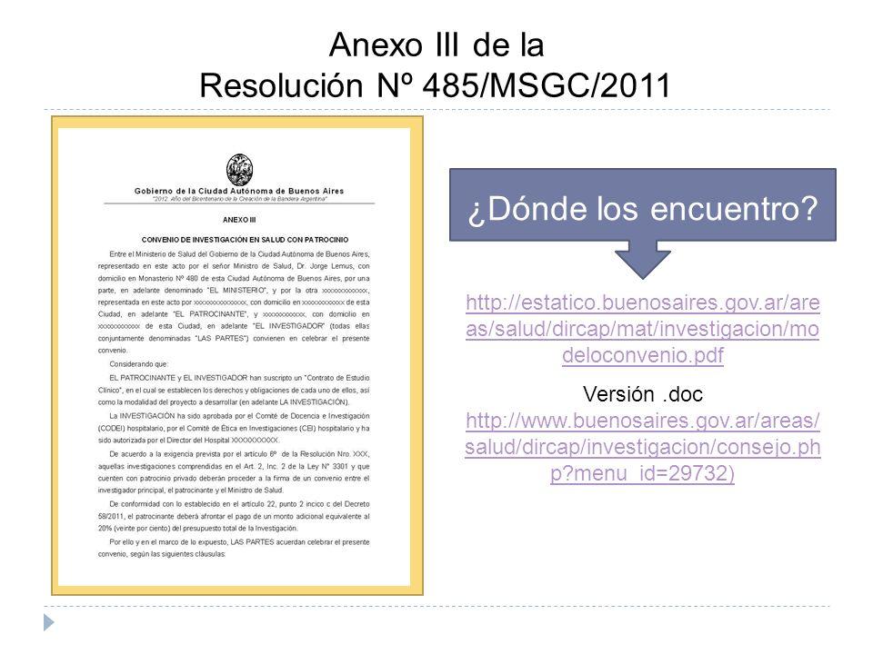 Anexo III de la Resolución Nº 485/MSGC/2011 ¿Dónde los encuentro.