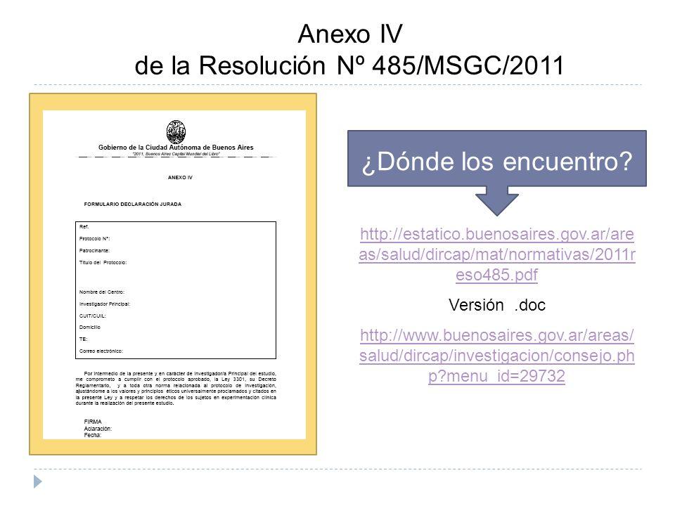 Anexo IV de la Resolución Nº 485/MSGC/2011 ¿Dónde los encuentro.