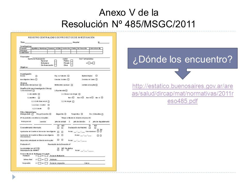 Anexo V de la Resolución Nº 485/MSGC/2011 ¿Dónde los encuentro.