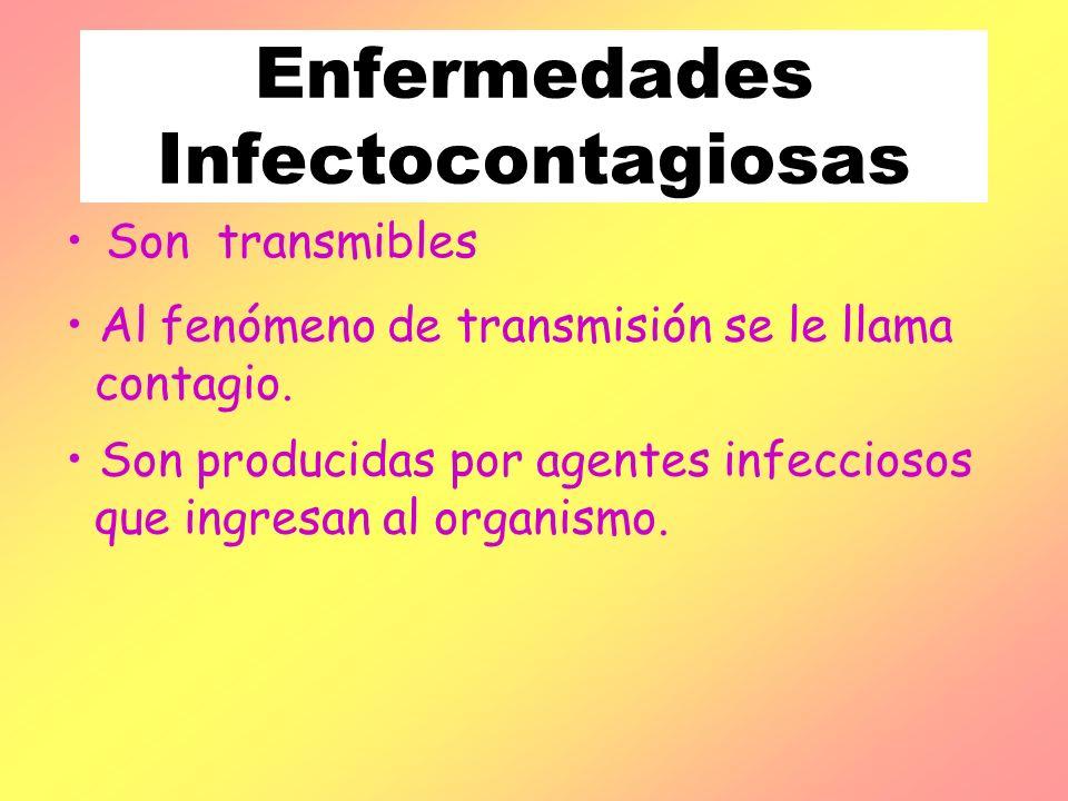 Enfermedades Infectocontagiosas Son transmibles Al fenómeno de transmisión se le llama contagio. Son producidas por agentes infecciosos que ingresan a