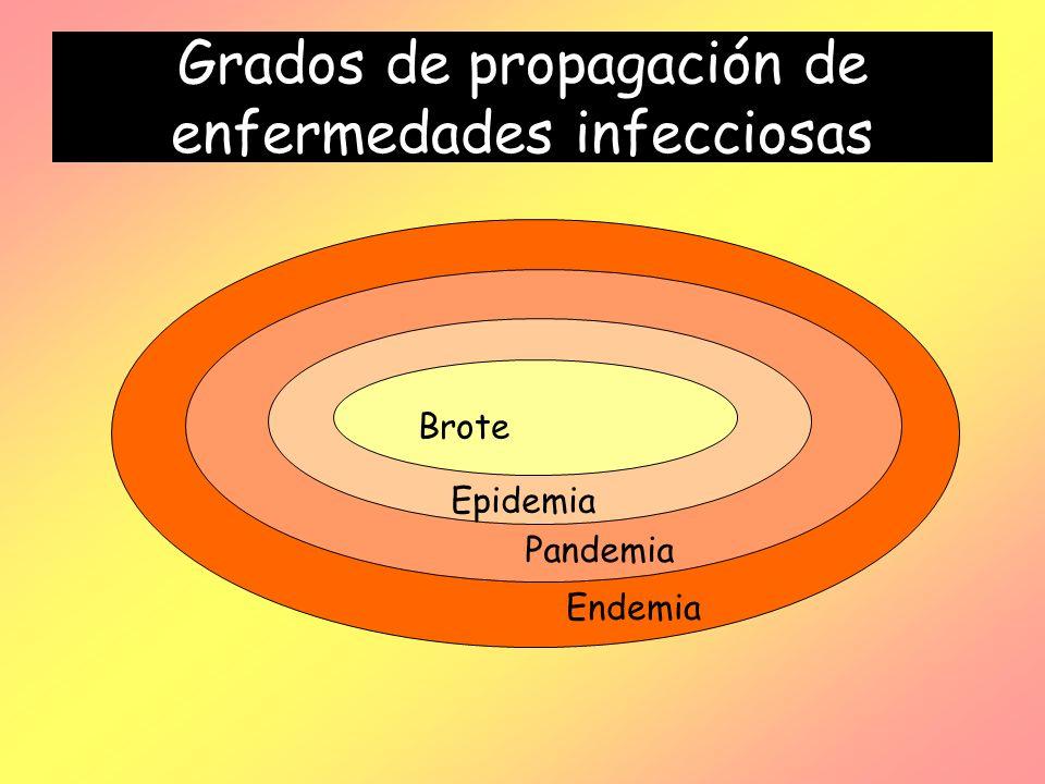Grados de propagación de enfermedades infecciosas Brote Epidemia Pandemia Endemia